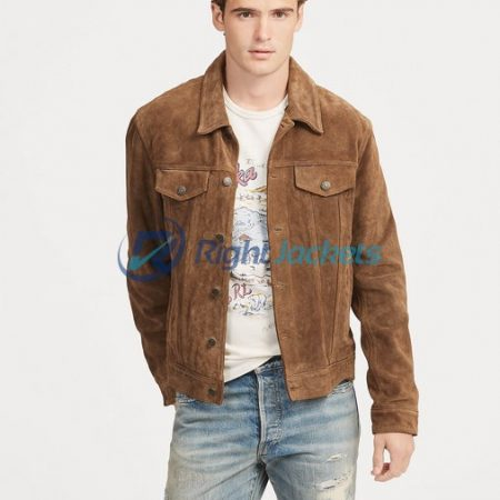 Mens Suede Trucker Stylish Smith Brown Jacket