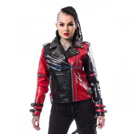 Harley Quinn Heartless Asylum Biker Black Red Leaher Jacket