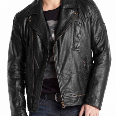 Asymmetrical 100% Real Black Leather Jacket