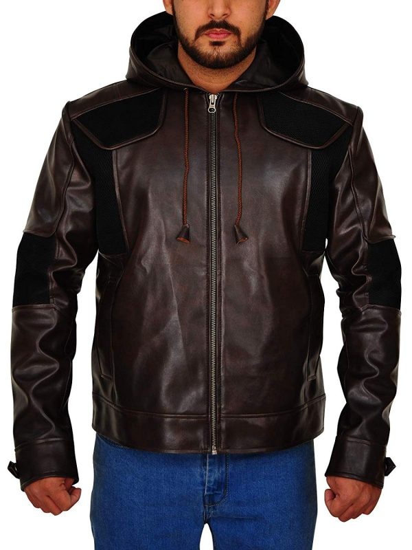 Solid Hooded Brown Real Leather with Net Fabric Bikers Style Jacket