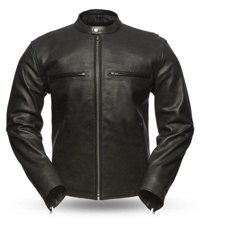 Men's Turbine Perforated Black Leather Jacket